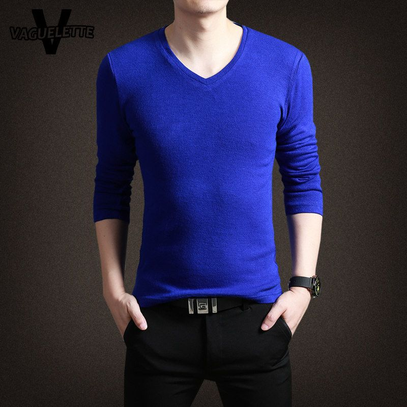 Casual Cotton Sweater Men Knitted Deep V Neck Slim Thin Men ...
