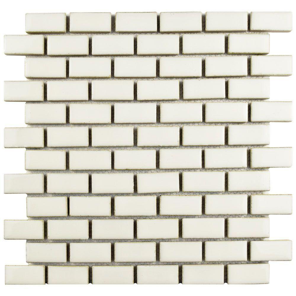 Merola Tile Essence Subway Ivory Bone 11-7/8 in. x 12 in. x 9 mm Porcelain Mosaic Tile, Ivory Bone/High Sheen