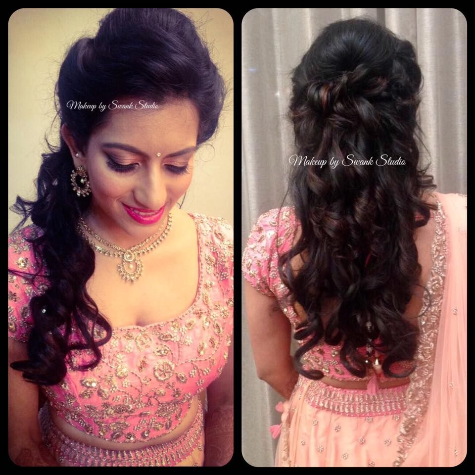 vijetha looks simple yet elegant for her reception. makeup and