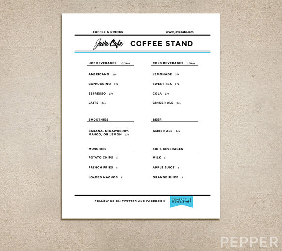 Custom Restaurant Menu Printable PDF By PepperDesignStudio   Free Printable  Restaurant Menu Template  Free Printable Restaurant Menu Template