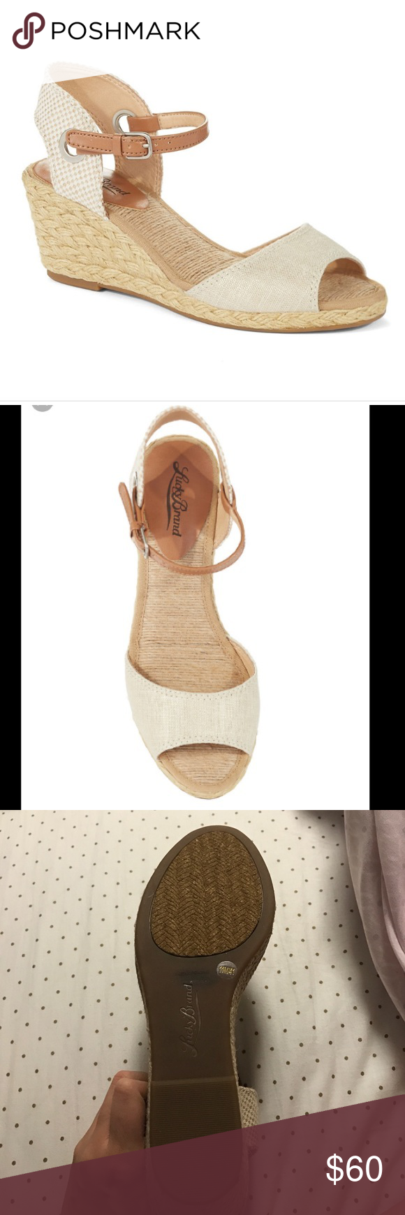 Lucky Brand Kyndra Sandal Women's Lucky Brand, Kyndra Sandal Cute and sweet, this sandal is perfect for a summer dress or jeans! Fabric and manmade upper Ankle strap with adjustable buckle closure for secure fit Smooth manmade lining Lightly cushioned footbed for added comfort 2 1/2 inch jute-wrapped wedge heel Manmade outsole. Heel Height of 2.50 inches. Lucky Brand Shoes Sandals