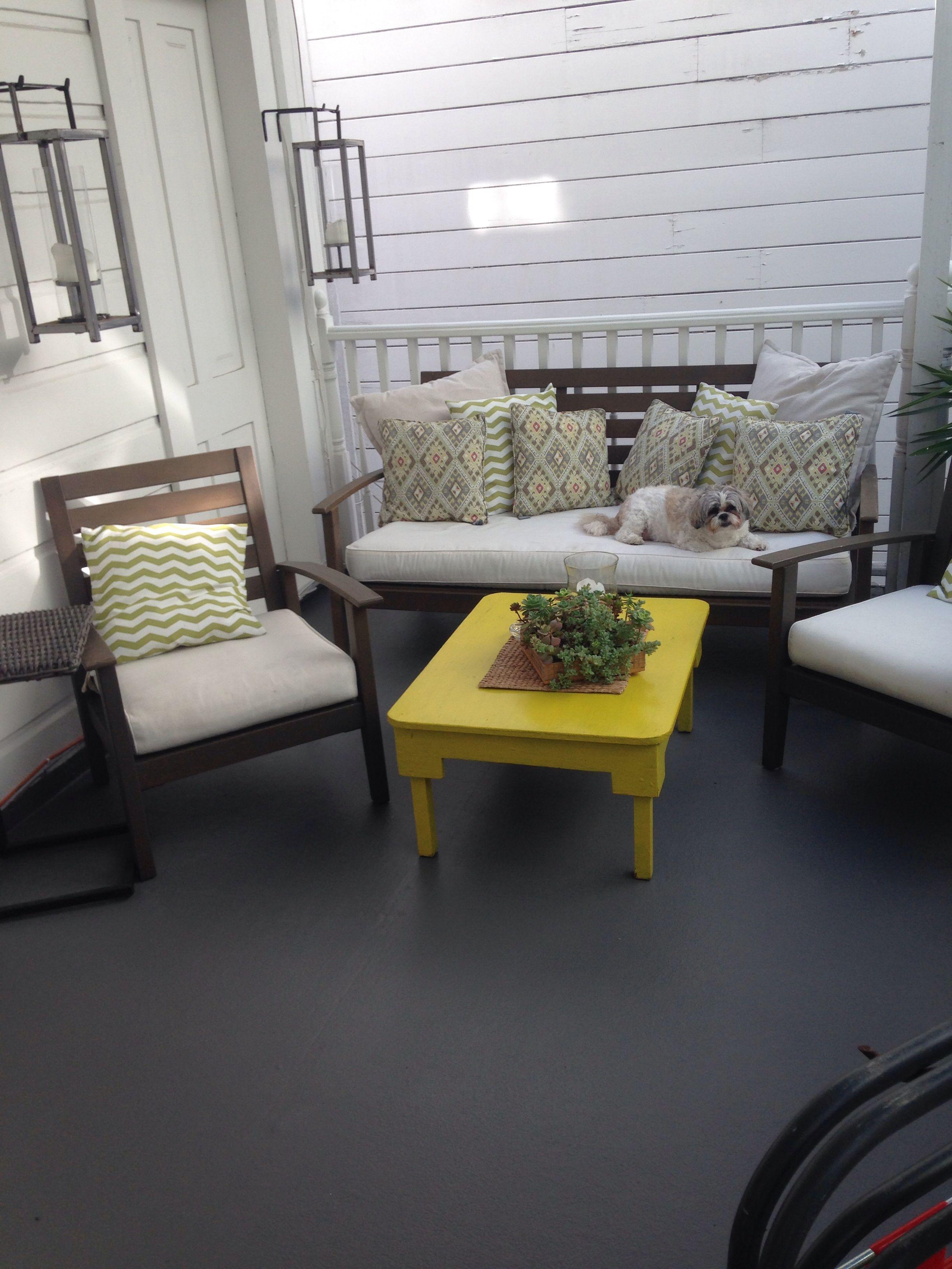 Deck Floor Painted Dark Grey