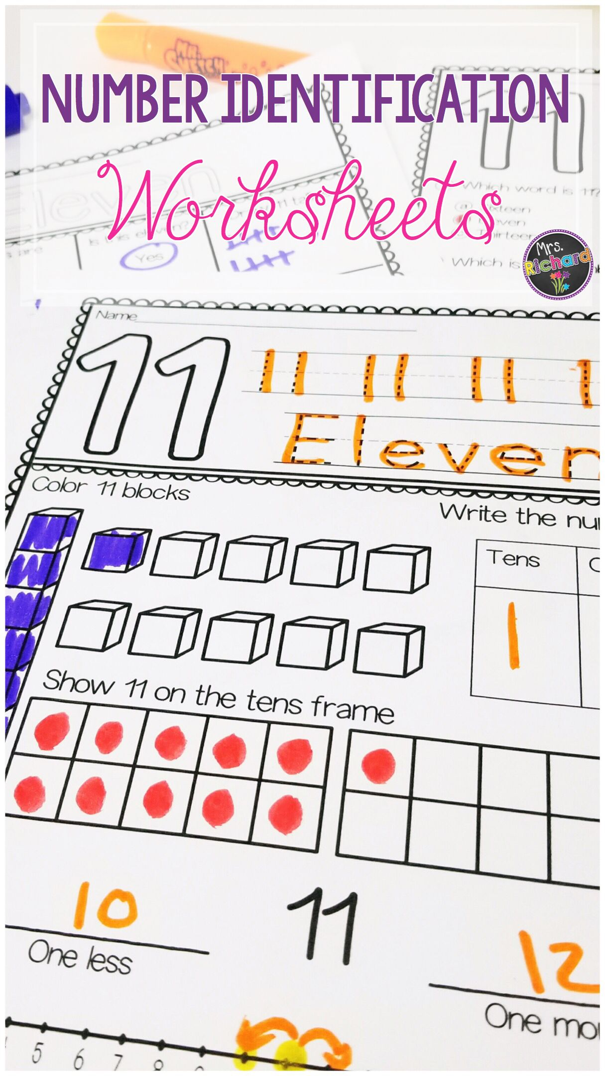 Worksheets Identifying Numbers Worksheets numbers 11 20 worksheets mrs richards exceptional education students can practice identifying daily with a different activity worksheet that focus on tens frames addition and