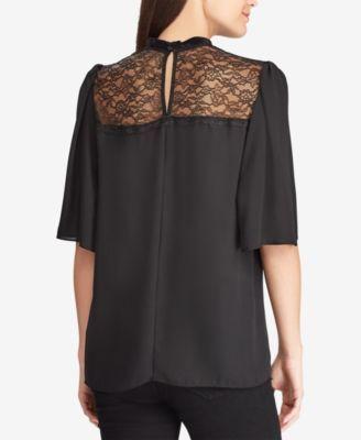 49e30f88d47c22 Lauren Ralph Lauren Lace-Yoke Georgette Top - Black 4   Products in ...