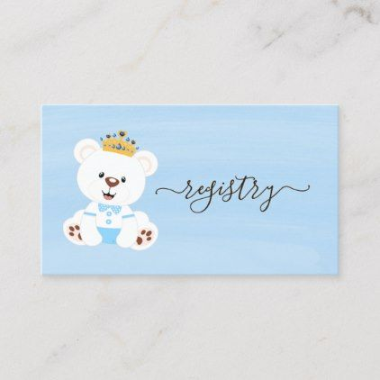 Cute Prince Teddy Bear Boy Baby Shower Registry Business Card
