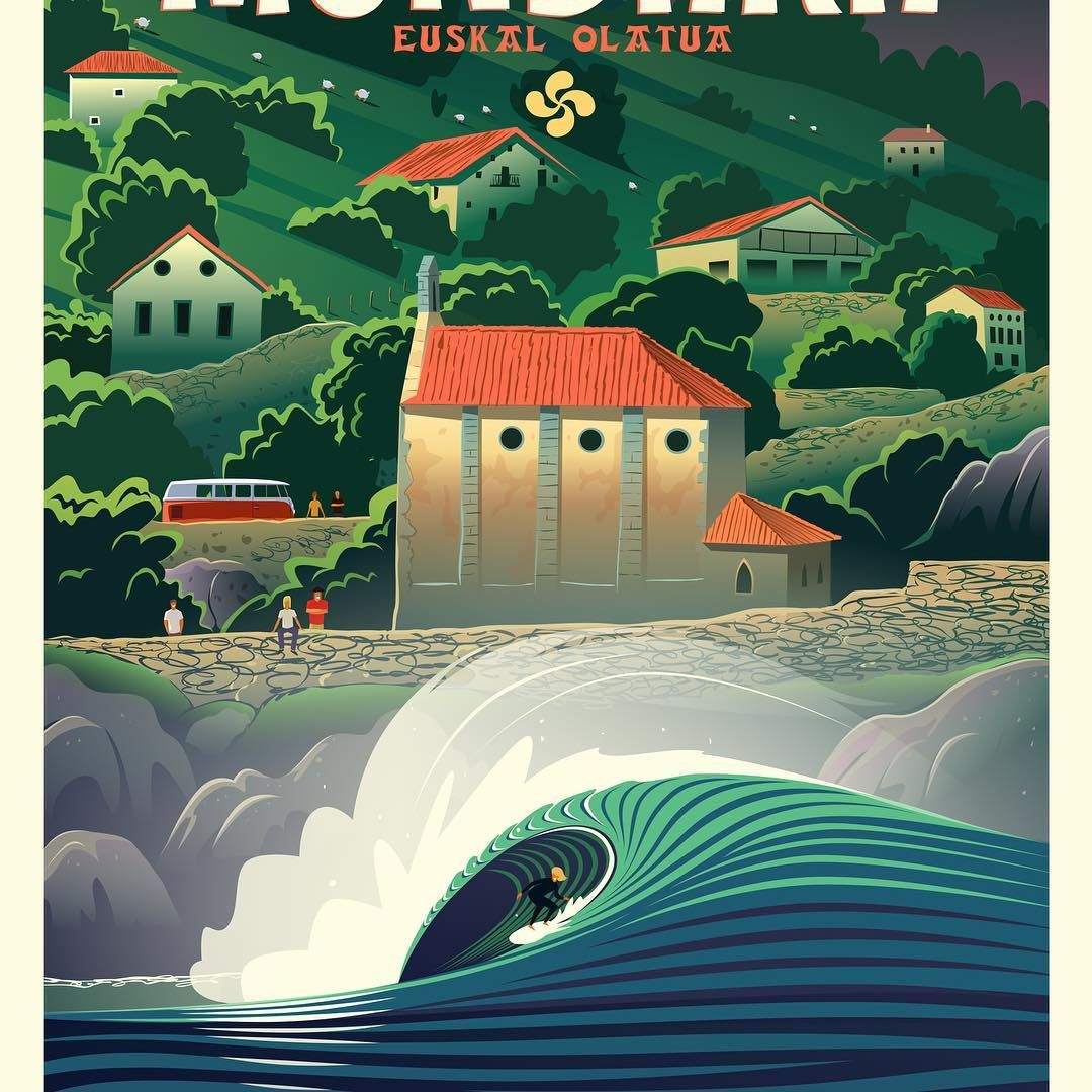 Mundaka Surf Pays Basque Affiche Vague Illustration Clav Dessin Surf Affiche Art Deco Instagram