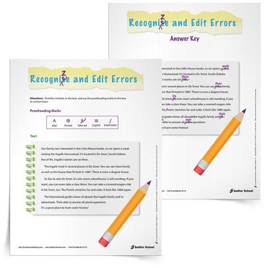 Revising And Editing Worksheets Ingalls Homestead Grades 3 5 Math Worksheets Kindergarten Language Arts Worksheets Phonics Worksheets Revising and editing worksheets