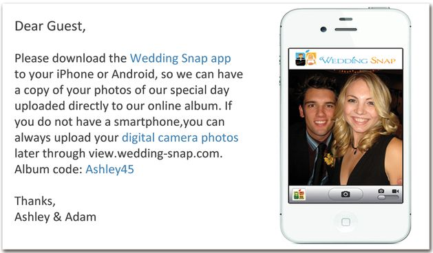 Wedding Snap app for gathering photos taken on smart phones at the reception.
