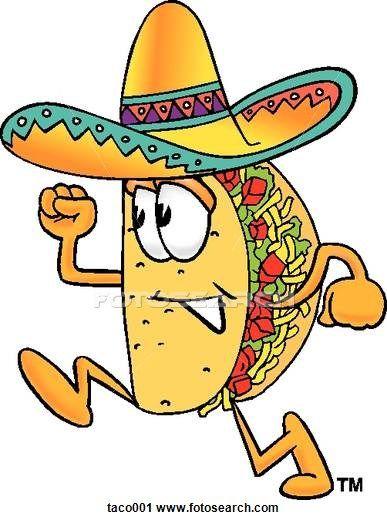 Taco running. Clipart book fair themes