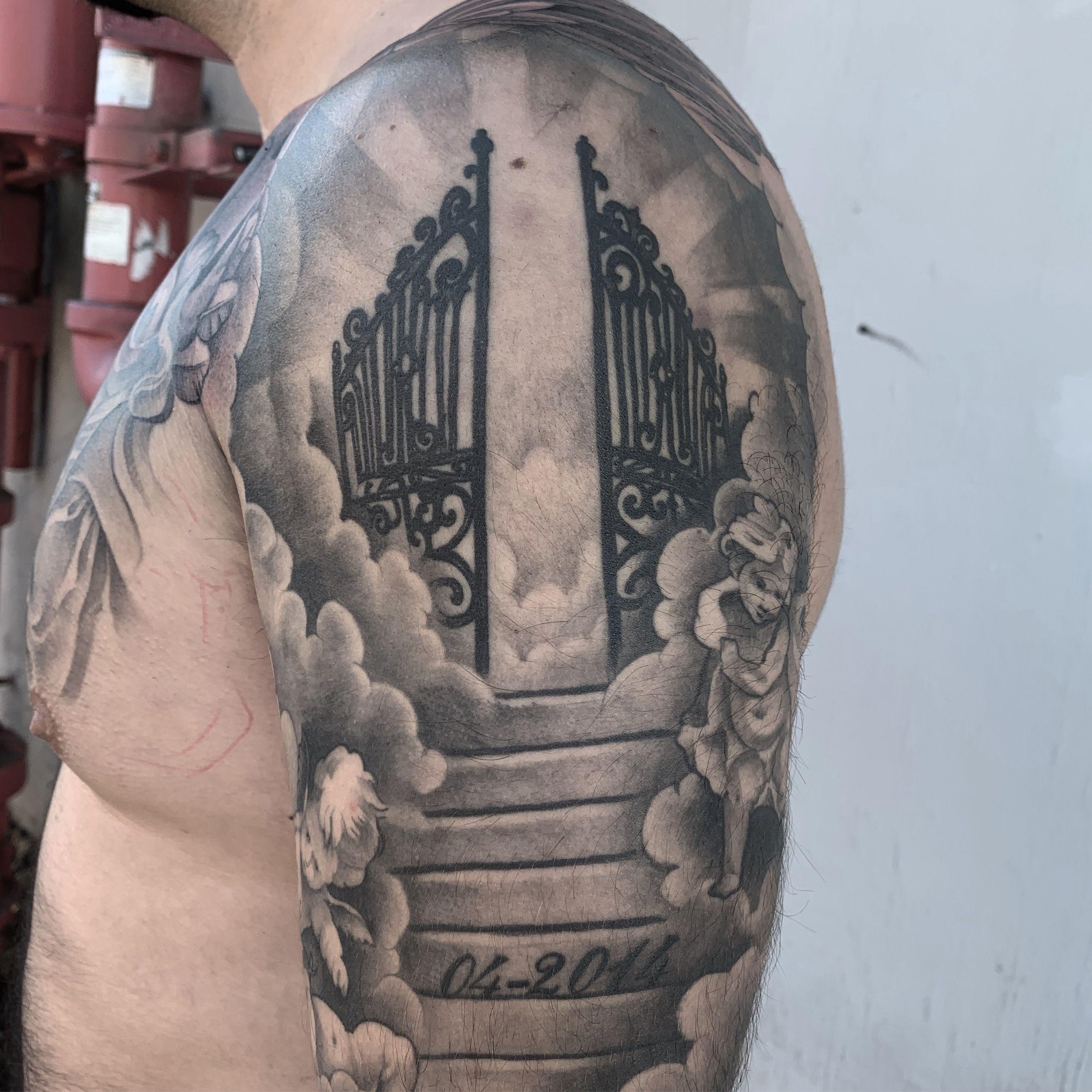 Gates Of Heaven Tattoo Heaven Tattoos Gates Of Heaven Tattoo Stairway To Heaven Tattoo