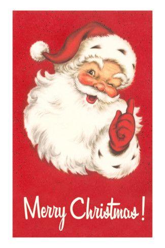 'Merry Christmas. Winking Santa Claus' Photo - | AllPosters.com