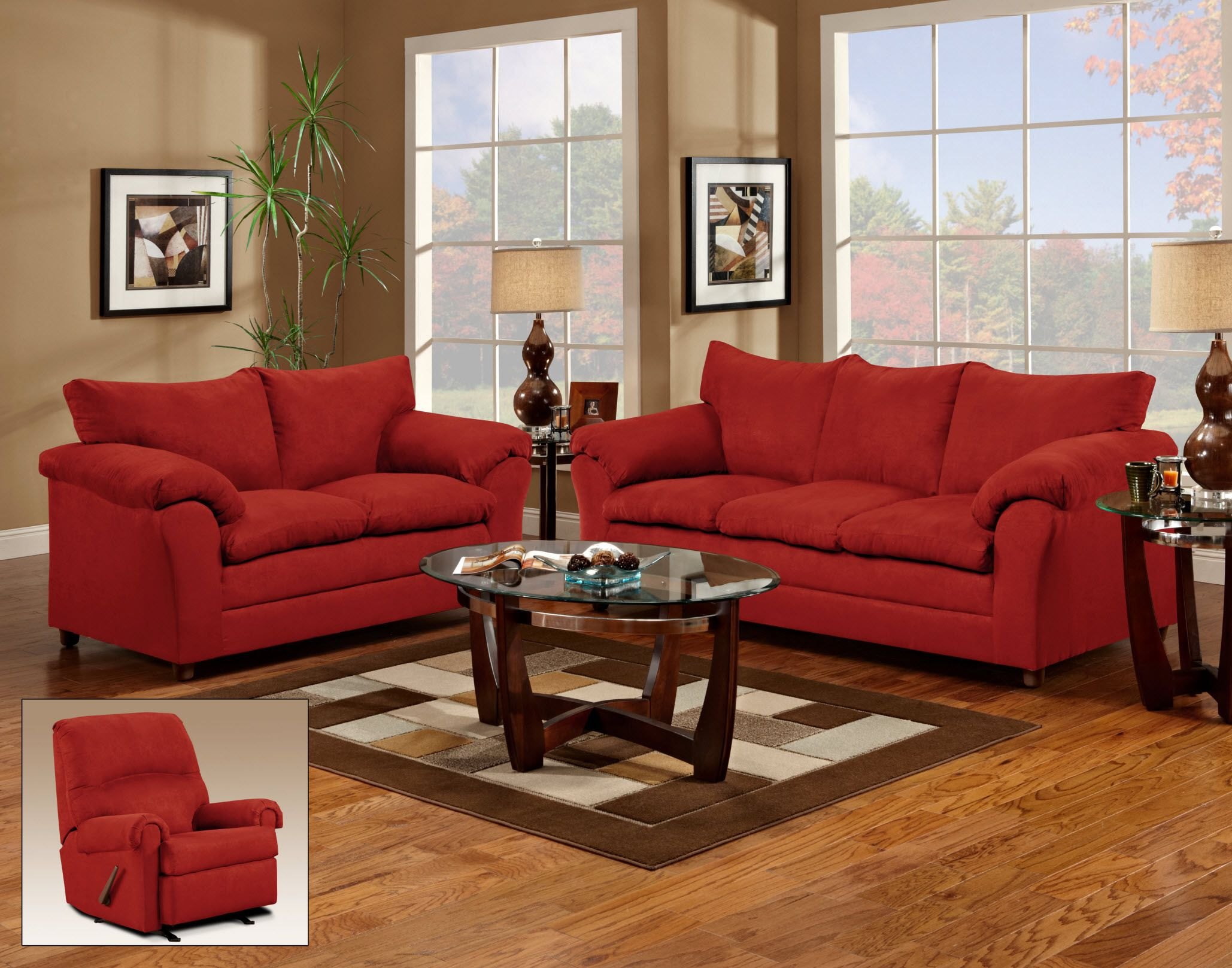 Red couch and loveseat living room for the home for Living room ideas with red sofa