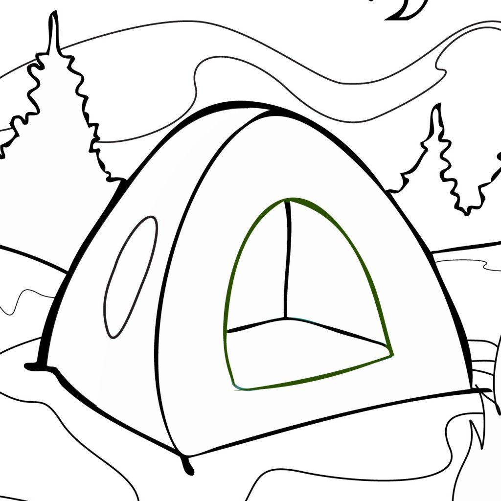 Tent Coloring Page Coloring Book Camping Coloring Pages
