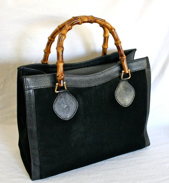 435275de5182 Vintage GUCCI Tote Bamboo Black Suede Leather Large by StatedStyle