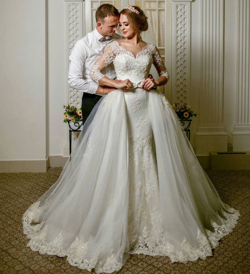 Mermaid Wedding Dress With Detachable Skirt Three Quarter Sleeve V ...