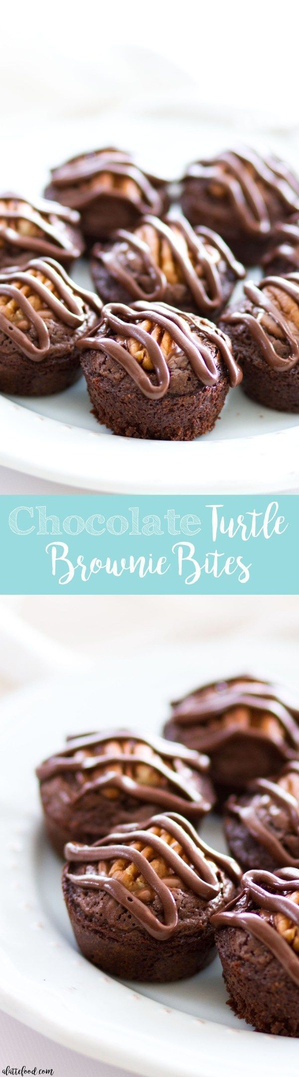 Chocolate Turtle Brownie Bites #turtlebrownies These chocolate turtle brownie bites are a simple yet rich dessert that can be made with homemade brownie batter or boxed brownie batter! The brownies are stuffed with chocolate covered caramels (like Rolos), topped with a pecan, and drizzled with melted chocolate! Plus, a step-by-step video below.