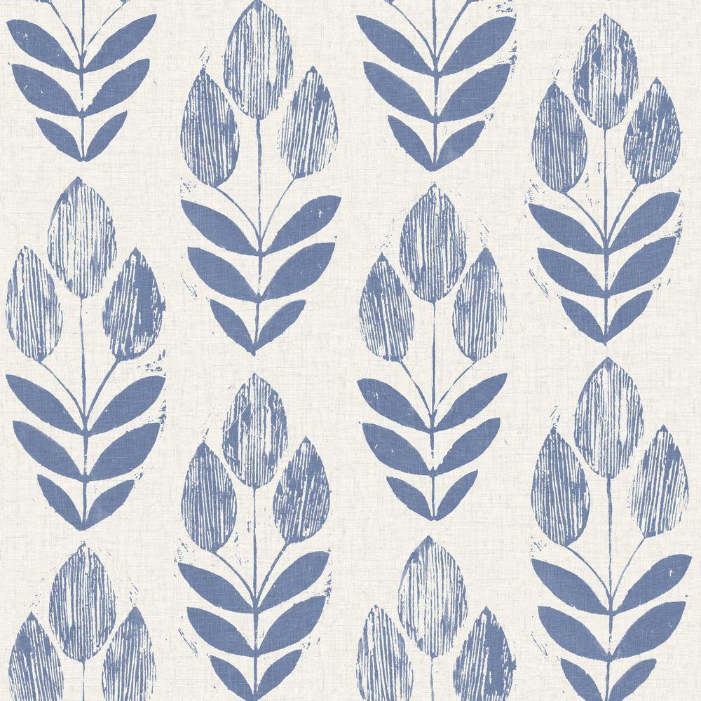 Beacon House Scandinavian Blue Block Print Tulip Wallpaper Modern Floral Wallpaper Floral Wallpaper Brewster Wallpaper