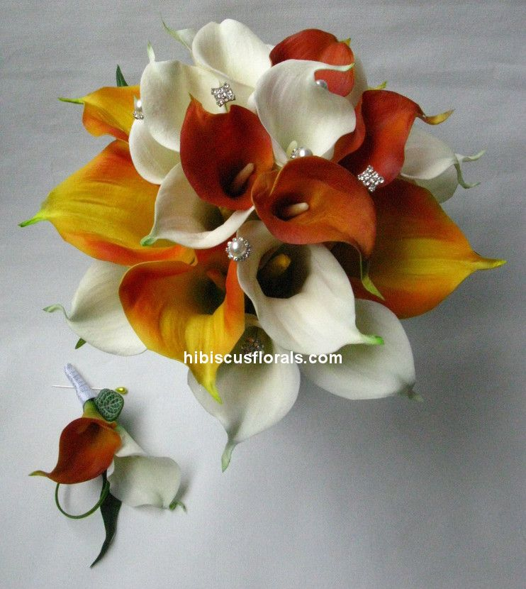 Wedding calla lily bouquets orange white mango calla lilies real wedding calla lily bouquets orange white mango calla lilies real touch wedding bouquet set wedding calla mightylinksfo