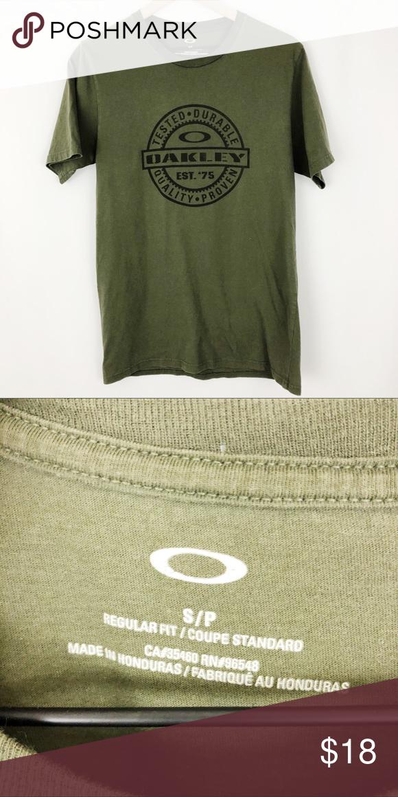 Oakley Men S Olive Green T Shirt F13 Olive Green T Shirt Oakley Shirts Oakley Men
