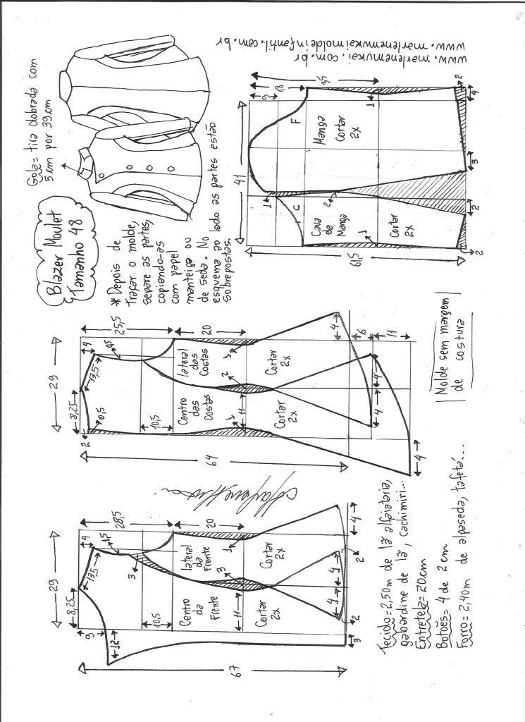 Blazer moulet – DIY – molde, corte e costura – Marlene Mukai ...