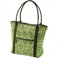 Neon Green Leopard Print Cotton Canvas Shopping Tote