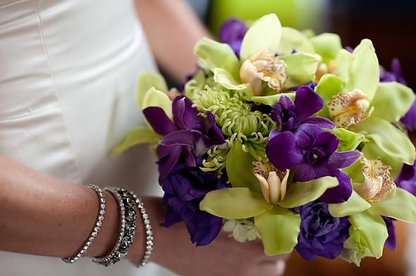 Green And White Wedding Flowers | Purple and Green Bridal Bouquet ...