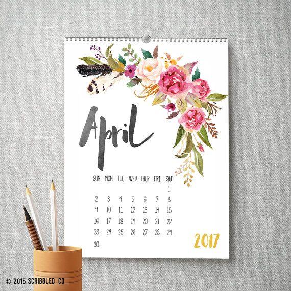2017 Monthly Wall Calendar 11x14 2017 Calendar by ScribbledCo Mais