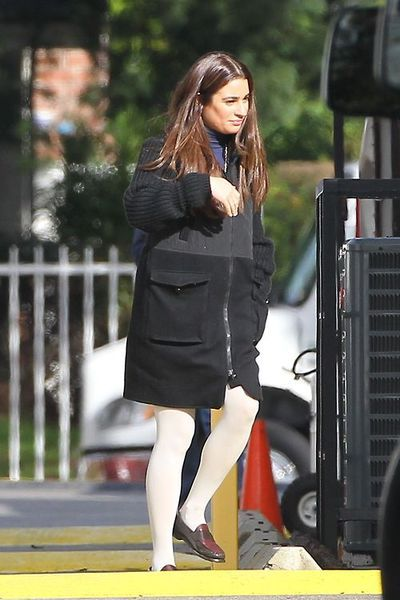 Lea Michele on set of 'Glee' (December 04, 2014)