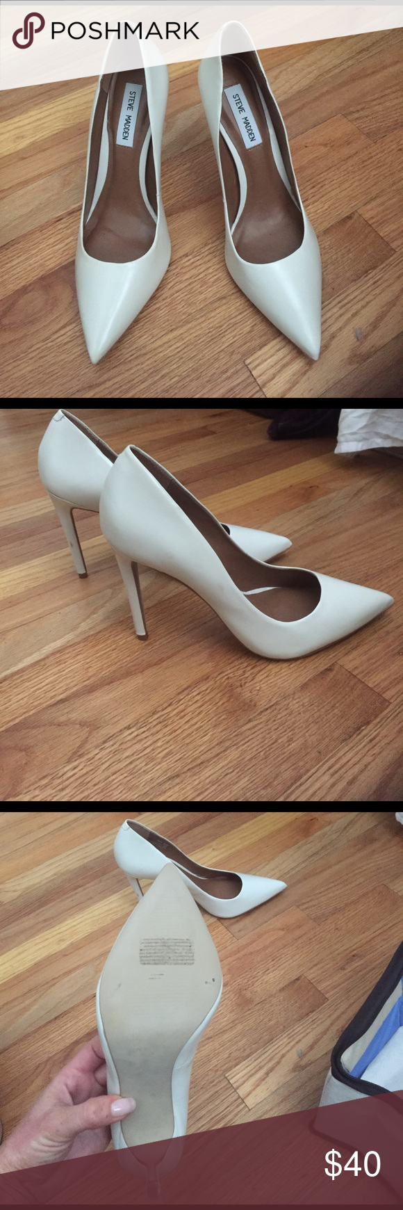 Steve Madden White Pointed Toed Pumps Never worn, no flaws, size 8.5 Steve Madden Shoes Heels