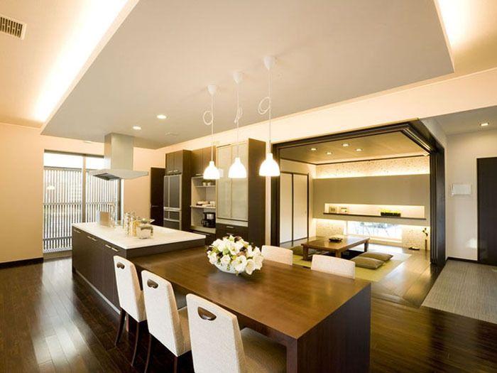 アイランドキッチンとテーブル イメージ アイランドキッチン 和の