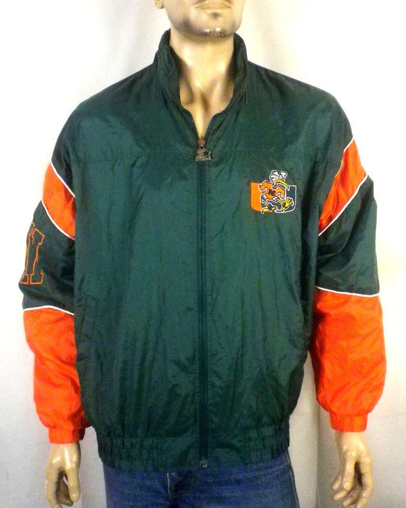 888c7d6b vtg 90s Starter MINT retro Zip Up Miami Hurricanes NCAA Windbreaker ...