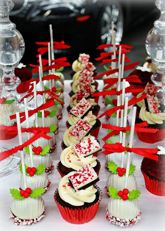 Pretty Holiday Party Dessert Buffet | Christmas cake pops ...