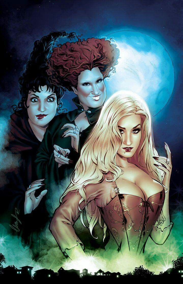 Halloween Town Movie Drawing.The Sanderson Sisters Hocus Pocus Horror Characters Halloween