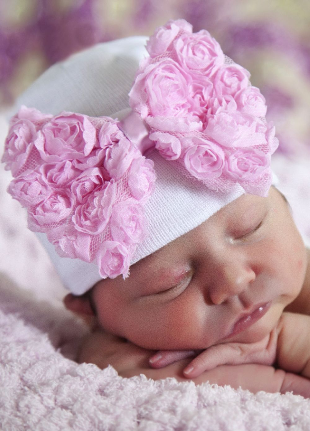 c9c08a342 Queen Bee Pink Rosette Newborn Baby Girl Hospital Hat by Ilybean ...