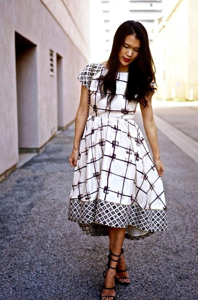 NWOT $298 Anthropologie Dress Troubadour Cadria High-Low black white Petite 8 #Troubadour #SheathDress #versatile