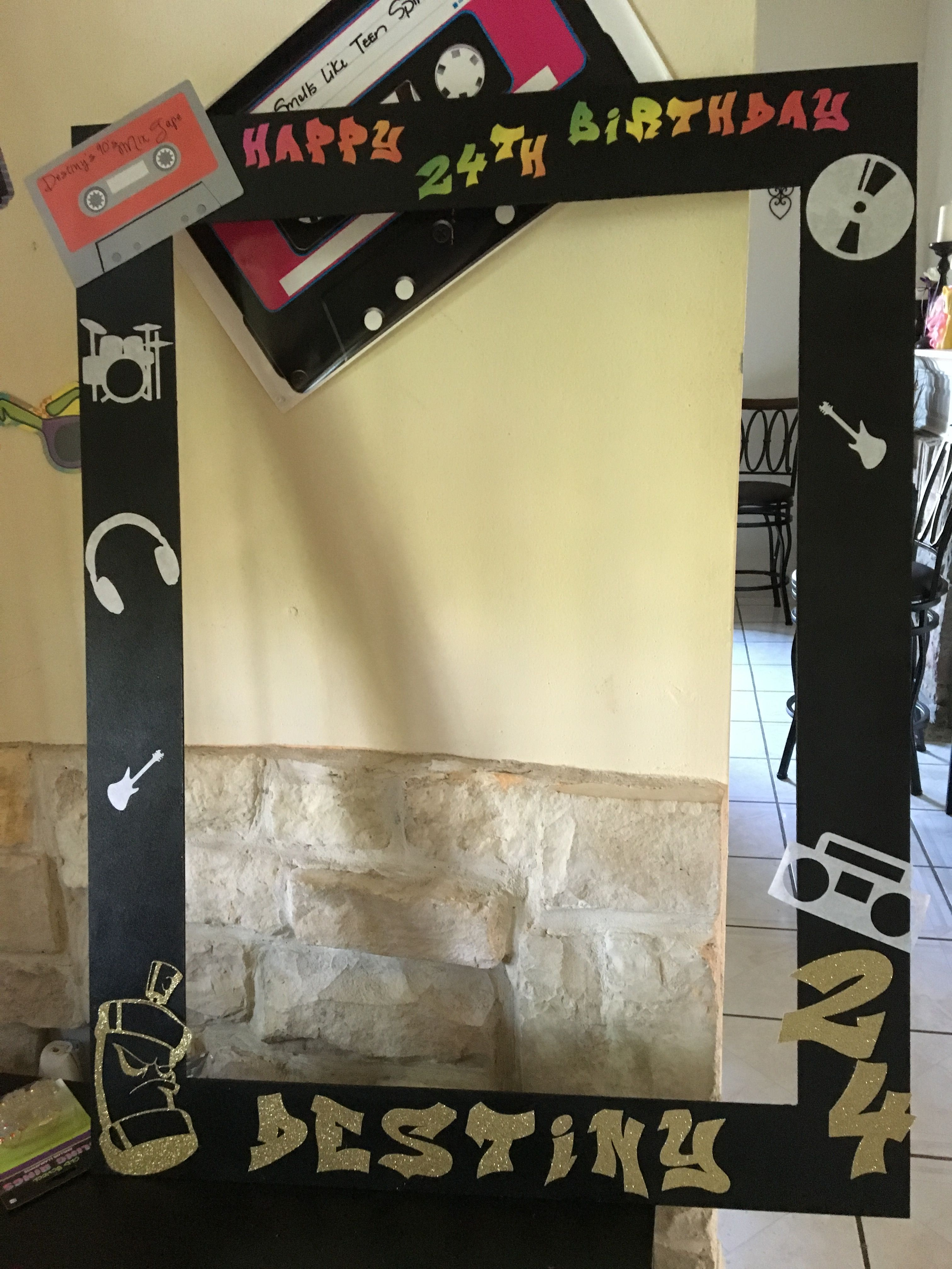 90 S Birthday Diy Picture Frame Photo Booth Frame Hip Hop Party
