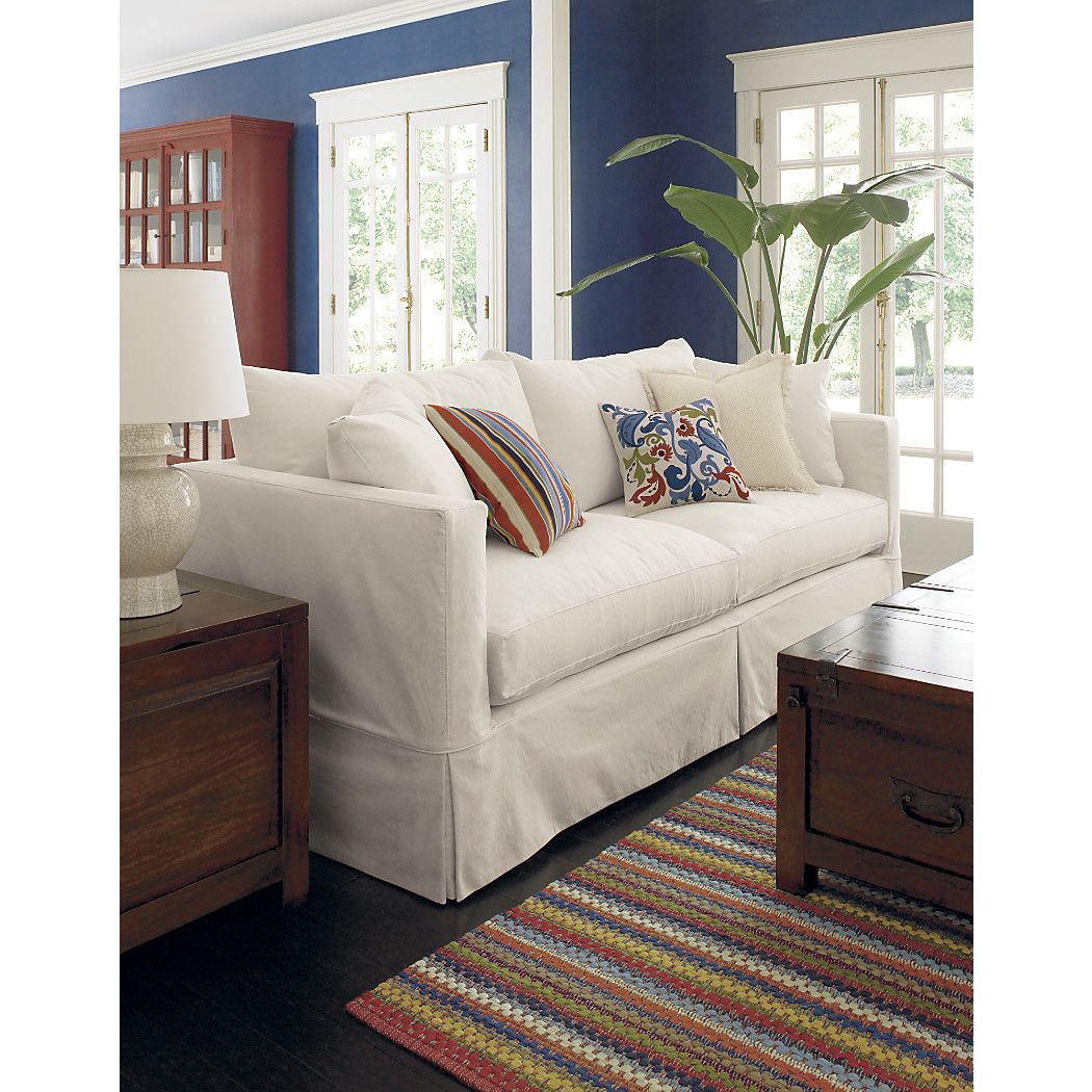 Willow White Slipcovered Sofa + Reviews Crate and Barrel