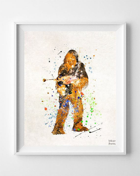 Star Wars Poster, Chewbacca, Star Wars Watercolor, Chewbacca Print ...