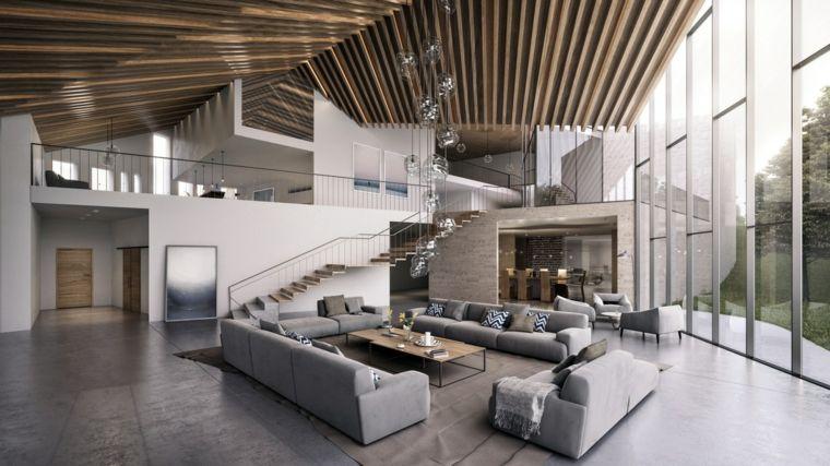 Saloni moderni con e un 39 idea con quattro divani grigi e for Divani moderni grigi