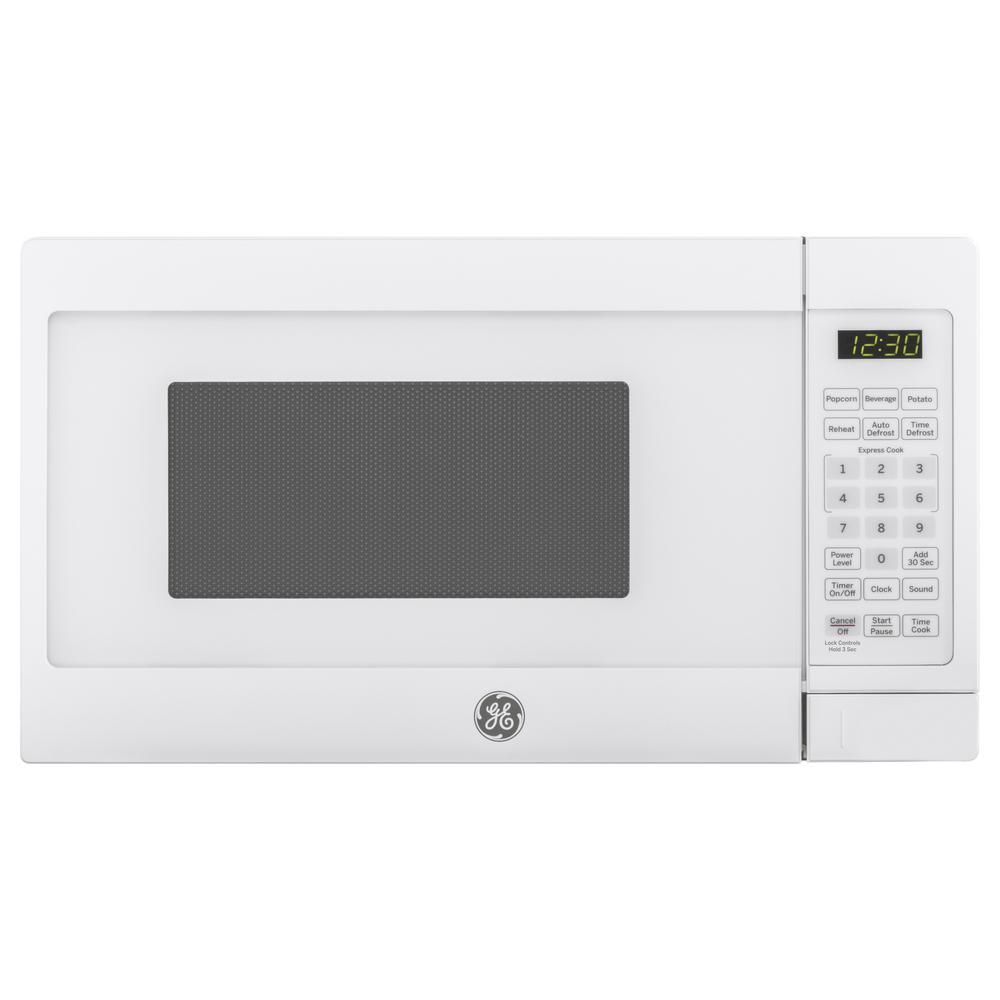 Ge 0 7 Cu Ft Small Countertop Microwave In White Jes1072dmww