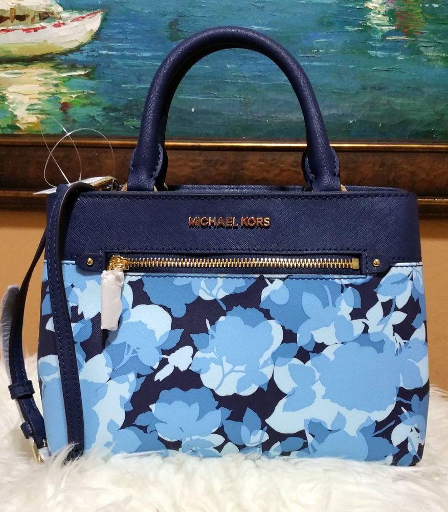 19c8ac51233e Michael Kors Hailee XS Satchel Small Crossbody Navy Blue Floral Handbag  Kellen  MichaelKors  Satchel