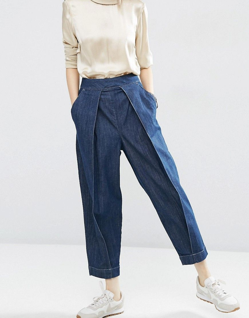 Image 1 of ASOS WHITE Mom Jeans with Front Pleat Detail