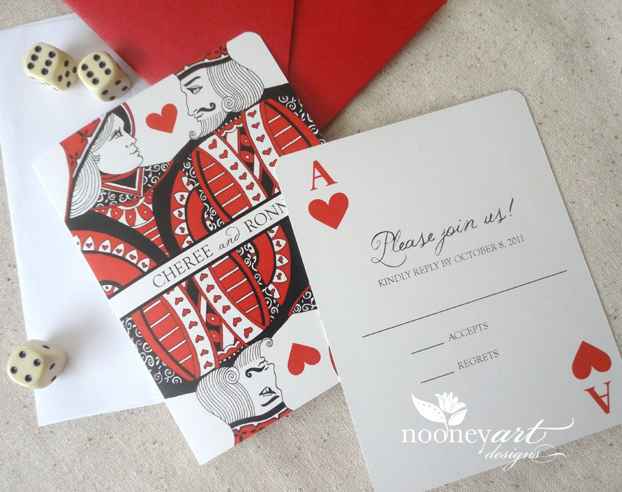 Las Vegas Themed Wedding Invitations: Playing Card Wedding Invitations And