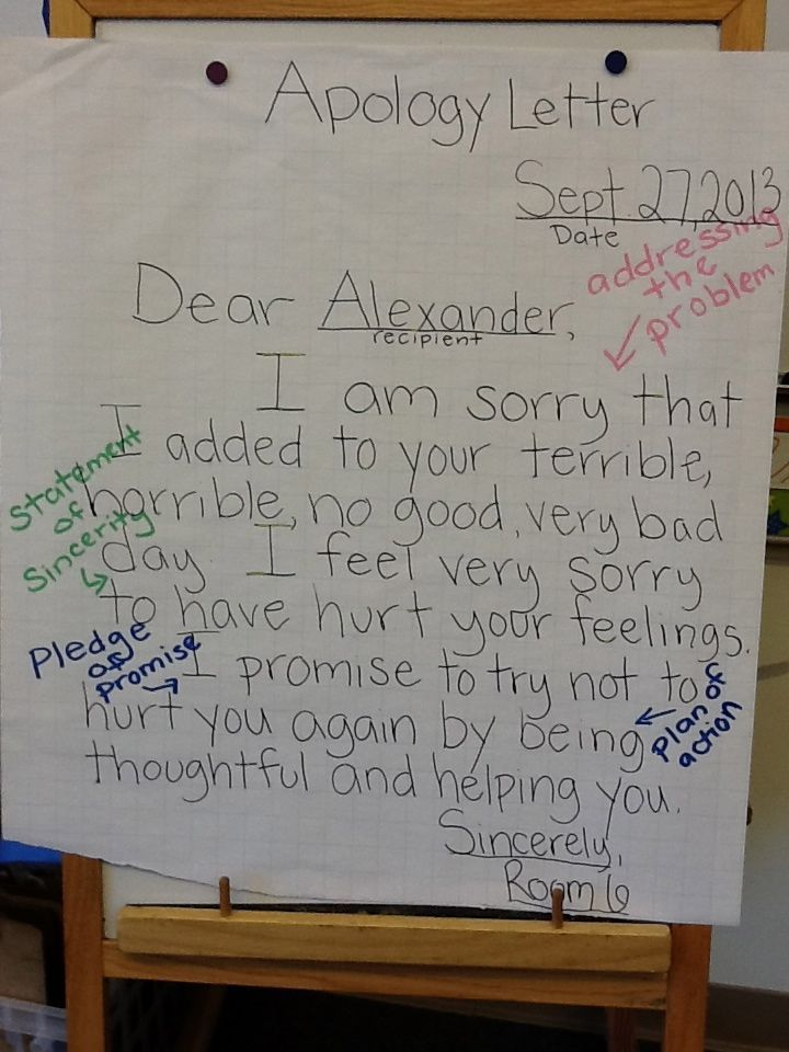 Writing Mini-lesson How to write an apology letter, using - apology letter