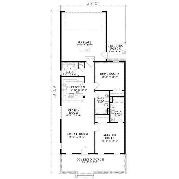 Southern Style House Plan 2 Beds 2 Baths 1120 Sq Ft Plan 17 554