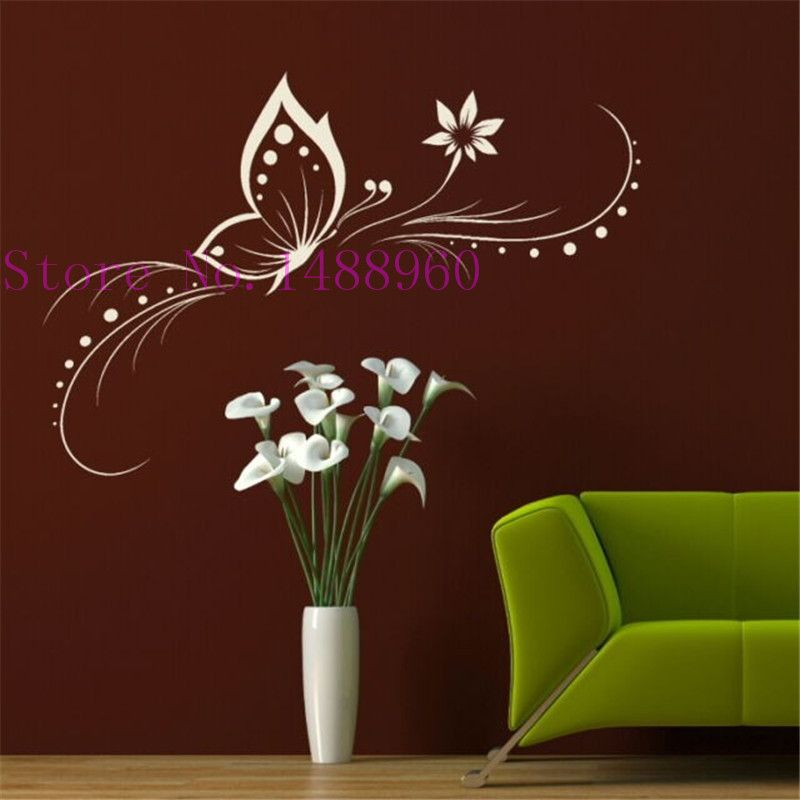 A2 beautiful butterflies flower wall stickers home decor vinyl wall decals art home decoration