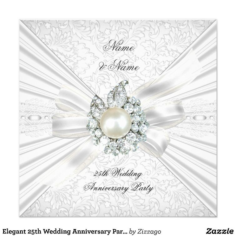 Elegant 25th Wedding Anniversary Party Lace White Card | 25 wedding ...