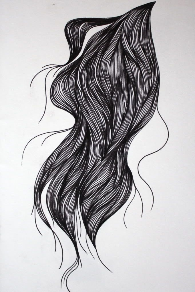 hair drawn with fineliner pen
