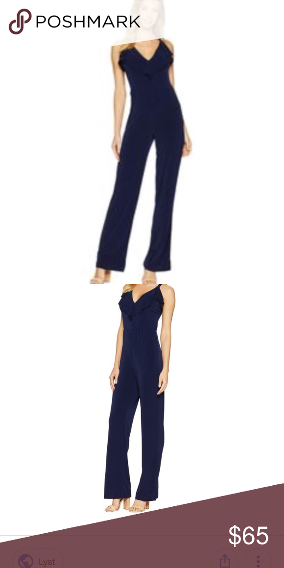 dbbc40de3444 Bebe jumpsuit Bebe front ruffle crossback jumpsuit Brand new with tags Size  extra small The one I m selling is black bebe Pants Jumpsuits   Rompers