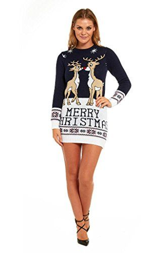 cb3e6208bd2 YOU LOOK UGLY TODAY Knitted Ladies Christmas Dress Womens Sweater Tunic Top  Deer CoupleLarge ** More info could be found at the image url.